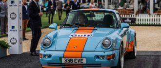 Классический Porsche 964 перевели на электротягу и окрасили в цвета Gulf